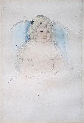 "MARY CASSATT Original c. 1904 Hand-Colored Drypoint - ""Sara Smiling"""