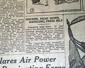 1922-Detroit-Newspaper-HARRY-HOUDINI-Hanging-Straight-Jacket-Escape-Magician
