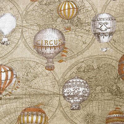 1 Metre Retro Cotton Linen Fabric Vintage Hot Balloon Map Ancient Explorer 112cm