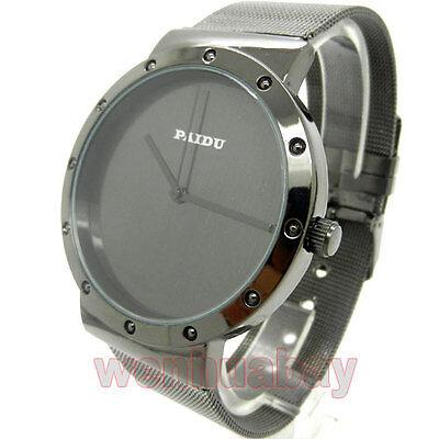 Simple Round Black Metal Iron Mesh Quartz Wrist Watch Men Boy Gift 86 Q0819