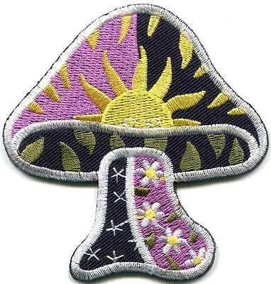 Mushroom boho hippie retro love peace weed trance applique iron-on patch G-120