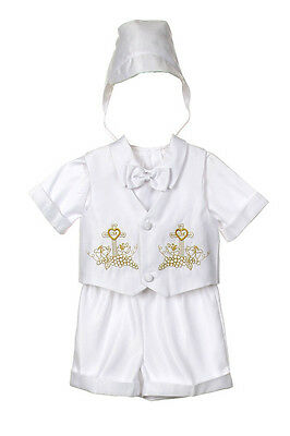 New Baby Boy White Christening Baptism Outfit Suit set size 01234(0-24M) Gold