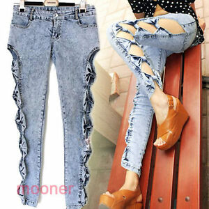 Particular-Design-Hollow-Side-Bowknot-Girl-Jean-Pants-Skinny-Denim-Trousers