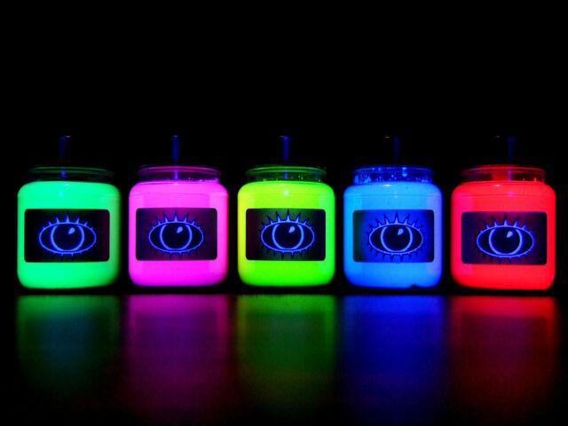 UV Paint Set Ultra Bright 5x 60ml U.V. Art Rave Glow U-V Neon Blacklight Fluoro
