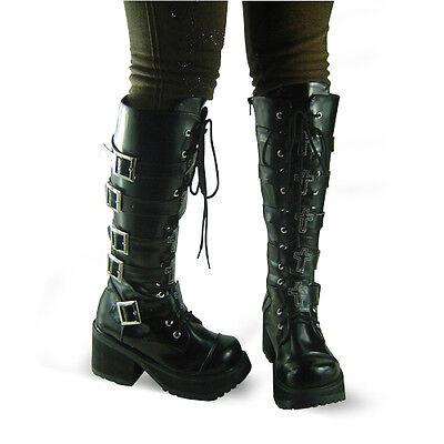 schwarz steam-punk gothic lolita damen-stiefel boots Shoes Schuhe gotik goth EMO