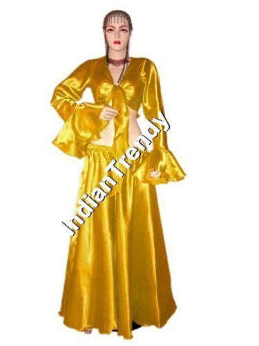 Ruffle Top Choli Belly Dance 4.5 Yard Costume Bell Sleeve Blouse Satin Skirt