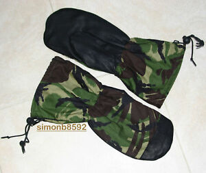 BRITISH ARMY SURPLUS RIPSTOP COTTON WOODLAND DPM LEATHER PALMED WATERPROOF MITTS