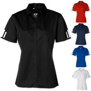 ADIDAS-GOLF-NEW-SIZE-S-2XL-Climalite-Ladies-3-Stripe-Womens-Polo-Sport-Shirt-a78