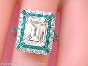 ESTATE-ART-DECO-4-47-ct-EMERALD-CUT-CENTER-DIAMOND-1-ctw-EMERALD-PLATINUM-RING