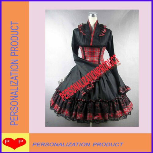 Victorian Gothic lolita Gingham corset & black Ball Gown Prom cosplay dress 2pcs