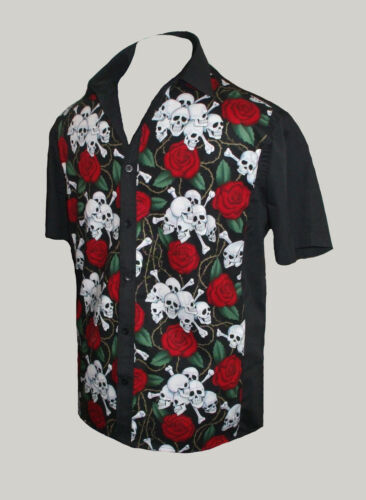 Da Uomo Teschi Rose Tatuaggio Rockabilly 50s Lounge Diner Camicia Goth psychobilly