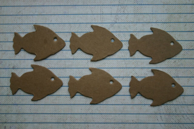 "6 Bare/Unfinished chipboard medium fish diecuts 1 3/4"" wide"