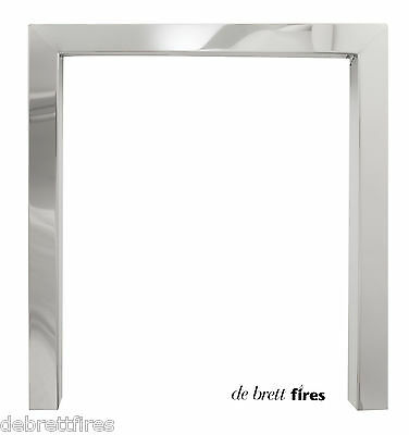"""16"""" or 18"""" Steel/Chrome or Brushed Steel Gas Coal Fire Trim Frame  2"""" fc 2"""" ret"""