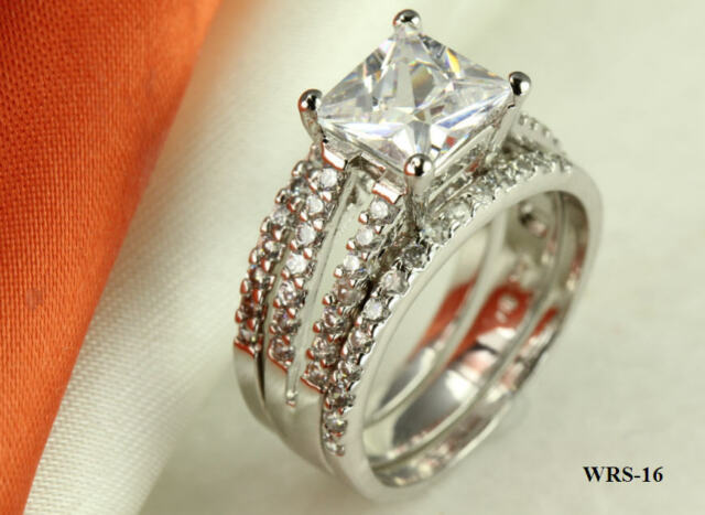 STERLING SILVER PRINCESS CZ PAVE BRIDAL ENGAGEMENT RING WEDDING HALO 3 RING SET