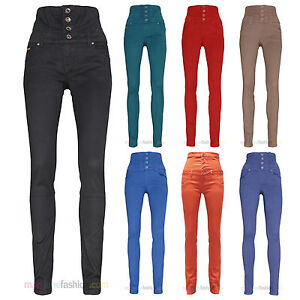 Womens High Waisted Slim Skinny Fit Soft Coloured Denim Jeans UK 6 ...
