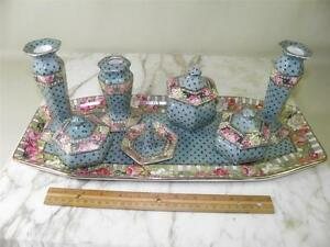 ANTIQUE-8-PIECE-VANITY-DRESSER-SET-BURSLEM-ENGLAND-EARTHENWARE-ROMANTIC-ROSES