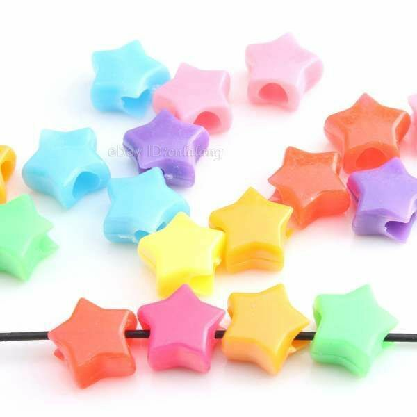 300pcs 150191 Assorted Colorful Star Plastic Charms Beads Fit European Bracelet