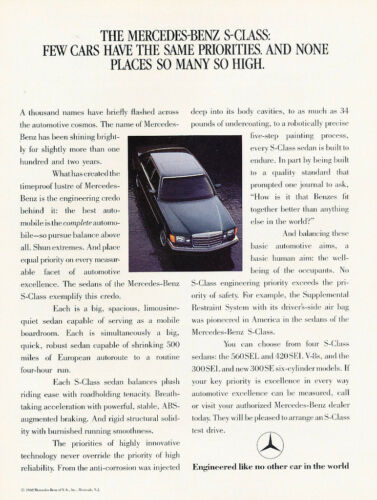 1989 Mercedes Benz 560SEL 420SEL 2-page Classic Vintage Advertisement Ad H52