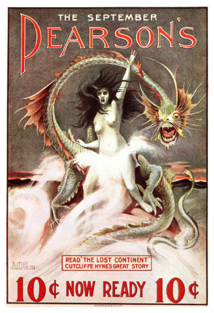 Pearson's Magazine Poster, Vintage Art Nouveau Design Style, 1890's, September