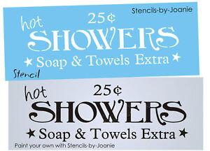 Bathroom Signs Ebay joanie stencil hot showers soap towel extra country prim western