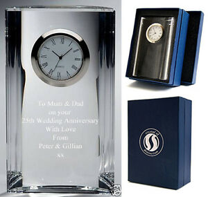 5-FACETTED-CLOCK-LEAD-CRYSTAL-GLASS-Quality-Home-Gift-RP-65-New-ENGRAVED-FREE