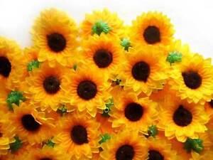 100X-Sun-flower-Artificial-Silk-Flower-Heads-Craft-Wedding-Wholesale-lots-1-5-034