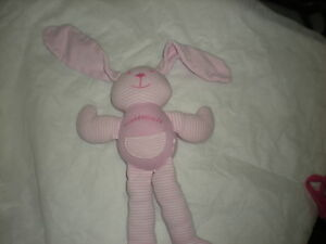 "KNUDDLEHASE EUROPE STRIPED PINK 11"" FLOPPY bunny rabbit lovey cute"