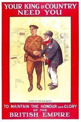 First World War British Empire Army Recruitment  Poster  A3 Reprint