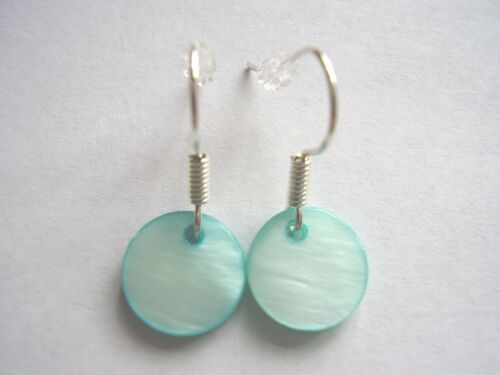 Classic surf style small shell disc silver plated drop earrings choose colour