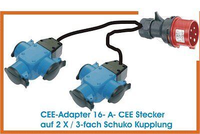 CEE Adapter Starkstrom  16 A Stecker auf 2 mal  3-fach Schuko Kupplung 1 Meter