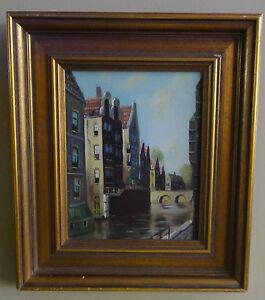 Topman-H-J-1907-Dutch-Netherlands-Canal-Cityscape-oil-on-canvas