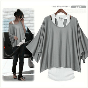 Womens-2-in-1-Style-New-Hot-Loose-Batwing-Tops-Blouses-T-shirt-Fit-UK-Size-8-16