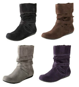 NEW LOWER EAST SIDE BLACK BROWN GRAY PURPLE SUEDED BOOTS WOMEN& ...