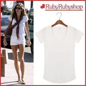 CLOTHES-TOP-002-KOREA-Fashion-Women-Lady-White-T-Tee-Shirt-Round-Basic-RUBY