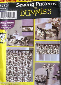 Home Decor Pattern Bathroom Sewing For Dummies Shower Curtain Tissue Cover Ebay
