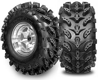 SET OF 4 SWAMP LIGHT TIRES 2 27X10-12 AND 2 27X12-12 6 PLY SWAMPLIT MUD 27""