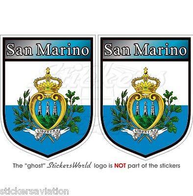 """SAN MARINO Sammarinese Scudi Adesivi in Vinile per Auto 75mm (3"""") Stickers"""