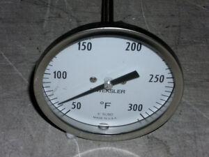 Weksler Bi-Metal Thermometer 50-300 Deg F/ 6 inch stem