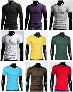 New-Mens-Slim-Fit-V-neck-T-shirt-Short-Sleeve-Muscle-Tee-Size-S-XL