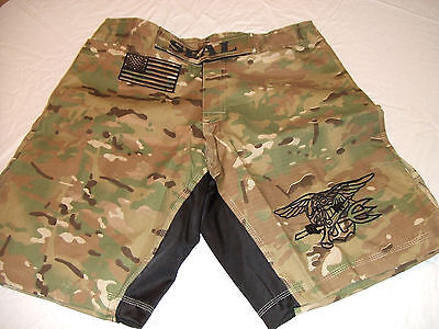 US NAVY SEAL SEALS NEW CAMO MMA PT S-T-COMP BOARD SHORTS FIGHT SHORTS  S - 3XL