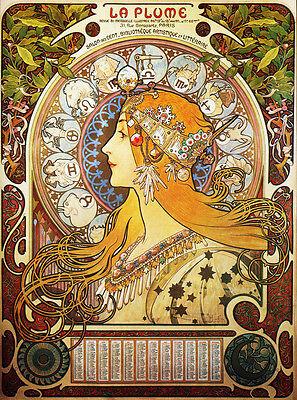 "Alphonse (Alfons) Mucha- -Zodiac, 1896-24x32"" Art Nouveau  CANVAS ART"