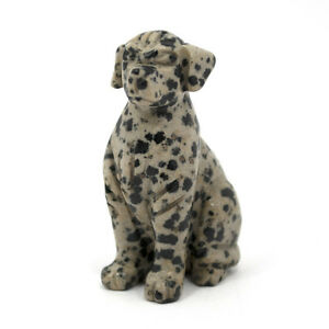 Dog Dalmatian Jasper Hand Carved Gemstone Animal Totem Statue Stone Sculpture