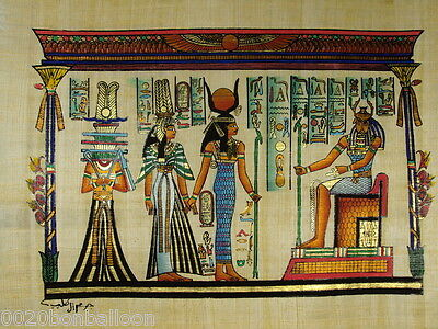 "Paharaoh King And Queens Original Hand Painted Papyrus 12""X16"" (30x40 Cm)"