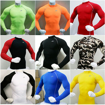 New Mens Compression Under Base Layer Top Tight Long Sleeve T-Shirts Collection2