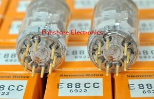 Matched-Pair-Siemens-E88CC-A6-Gold-Pin-Tube-6922-NOS-Match-by-Amplitrex-AT1000