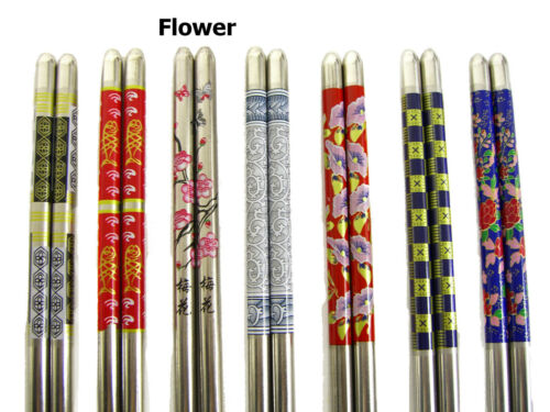 5 Pairs Chinese / Japanese Stainless Steel Chopsticks JW