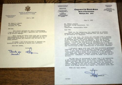 2 Letters Signed Lawrence Coughlin Thirteenth District PA Representatives 1980
