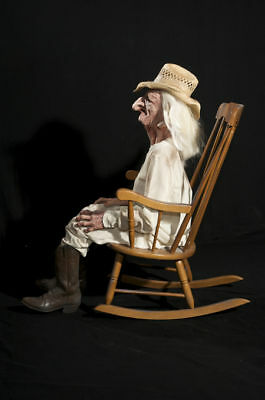 HALLOWEEN LIFE SIZE ANIMATED ROCKING CHAIR GRANDPA PROP DECORATION ANIMATRONIC