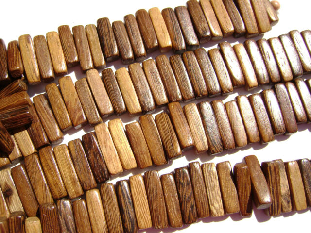 CL-84 Wood Bead Robles Handmade Brown Wax Polished Flat Stick 17x4mm 16in strand