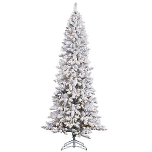 7 ft heavy white snow flocked slim pencil clear lights prelit christmas tree pp ebay. Black Bedroom Furniture Sets. Home Design Ideas